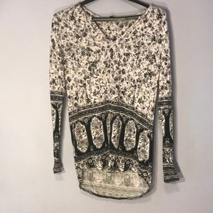 Long Sleeve Stretchy Patterned Tunic